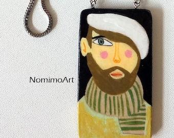 Painted man pendant , long pendant necklace , wood necklace , wearable art necklace , illustrated jewelry , arttowear