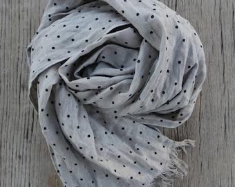 Polka dot linen scarf, linen shawl, softened linen scarf, long linen scarf, women linen scarf, organic linen shawl, linen shawl in gift box