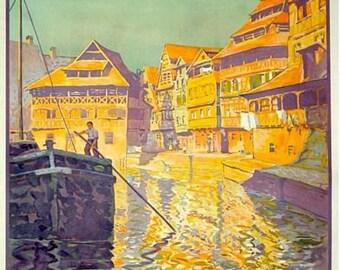 Vintage French Railways Strasbourg Tourism Poster A3 Print