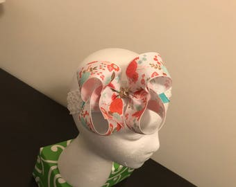 Coral & Mint Green Floral Bow