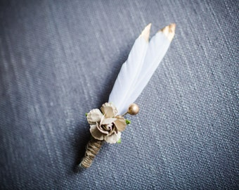 Gold Tipped Feather Boutonniere