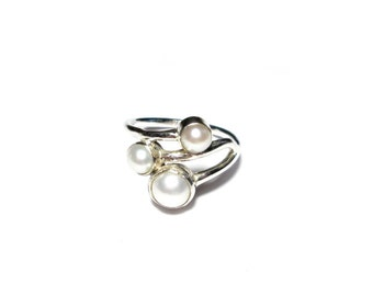 Ring 925 Silver Pearl, Gr. 54, sterling silver ring, cultured pearl, US size 6.8 UK size N, vintage silver ring, Silverring