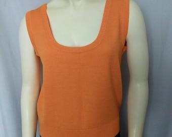 ST.John Knit  Top/Size L Knit Sleeveless Top/Designer's Knit Top/Orange Knit Tank Top/Orange Jersey Shell/VTG 90,s St John Knit Shell/445