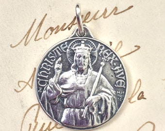 Christ the King Triumphant Medal  -  Sterling Silver Antique Replica