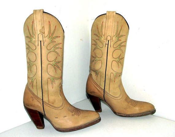 FRYE Boots green wood red stacked Womens fashion heels western Vintage and stitching 5IwFSqwW