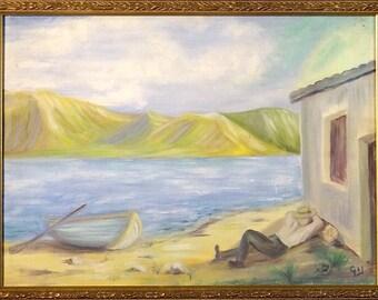 Superb ca.1965 Mediterranean Seascape w/Man Sleeping Painting Oil/Canvas/Frame