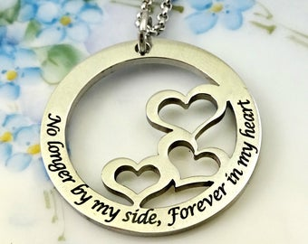 No Longer by my side, Forever in my Heart Necklace  - Mom Mother Grandma Nana -  Remembrance Memorial Mothers Day gift - Grief Mourning