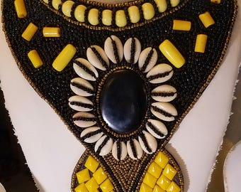 Yellow and Black Bib Necklace