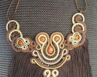 Fringed soutache necklace