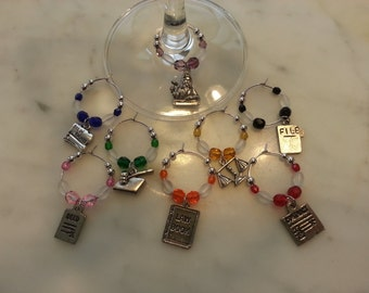 Lawyer Legal Judge  Wine Charms set of 8