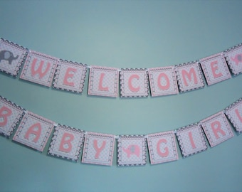 Pink and Gray Elephant Banner - Baby Shower Banner - Welcome Baby Girl - Chevron - Elephant Baby Shower Banner - Welcome Baby Pink and Grey