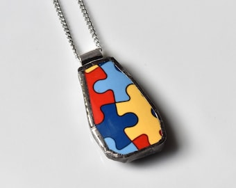 Broken China Jewelry Pendant - Puzzle Necklace - Autism - For Charity