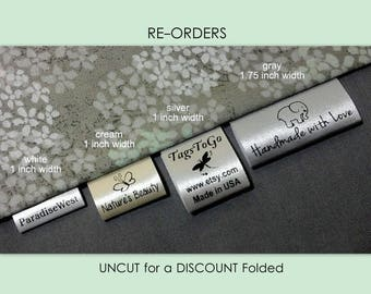 1000 (+40 Free) UNCUT for a DISCOUNT Folded Style Custom Satin Clothing Labels for Returning Customers Only ~ TagsToGo