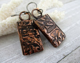"""Embossed Copper Rectangle Earrings, Electroformed Copper, Niobium Earwires, 1 5/8"""" Drop, Ready To Ship"""