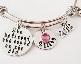 Graduation Bracelet, She believed she could so she did bracelet, Graduation Gift for her, College Graduation, High School Graduation Gift