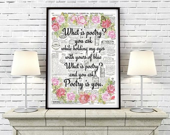 Poem Print 12x16 Poetry Art PRINTABLE Dictionary Wall Art Instant Download love Print Love quote Print Poetry Wall Art Anniversary Gift