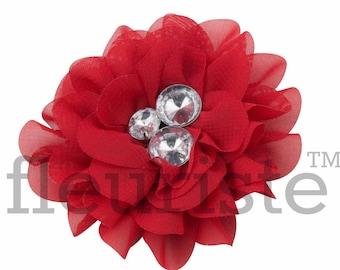"RED Chiffon Flower, Rhinestone Flower, Wholesale Flower, Fabric Flower, Headband Flower, Flower Embellishment,  Diy Flower 3"", 3 PC"