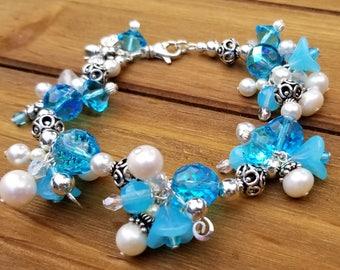 Sterling Silver Honey Bee Charm Cluster Bracelet, Swarovski Crystal, Czech Glass, Glass Pearl, Bali Silver & Sterling Silver