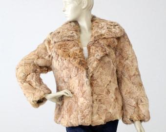 1970s rabbit fur coat, vintage brown fur jacket