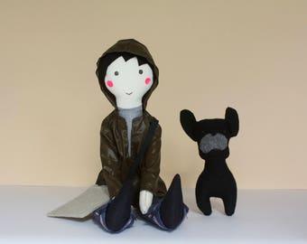Boy rag doll, heirloom soft cloth doll, handmade, mini stuffed dog and tote bag, Maximilien et son chien, best boy nursery deco