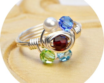 Any Five Birthstone Crystals Ring- Sterling Silver, Yellow or Rose Gold Filled Wire Wrap Personalized Ring-Size 4 5 6 7 8 9 10 11 12 13 14