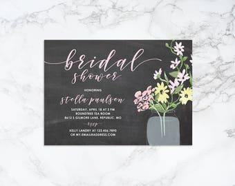 Printable Watercolor Flowers in Mason Jar Bridal Shower Invitation