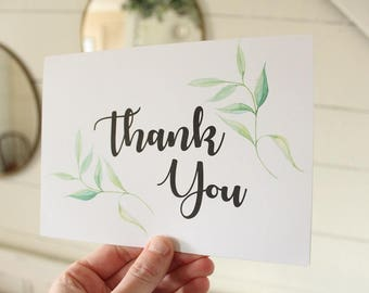 Simple Thank You Card   Watercolor Greenery Card   Greeting Card