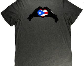 Puerto Rico Heart Interlocking Hands Flag Pride T Shirt