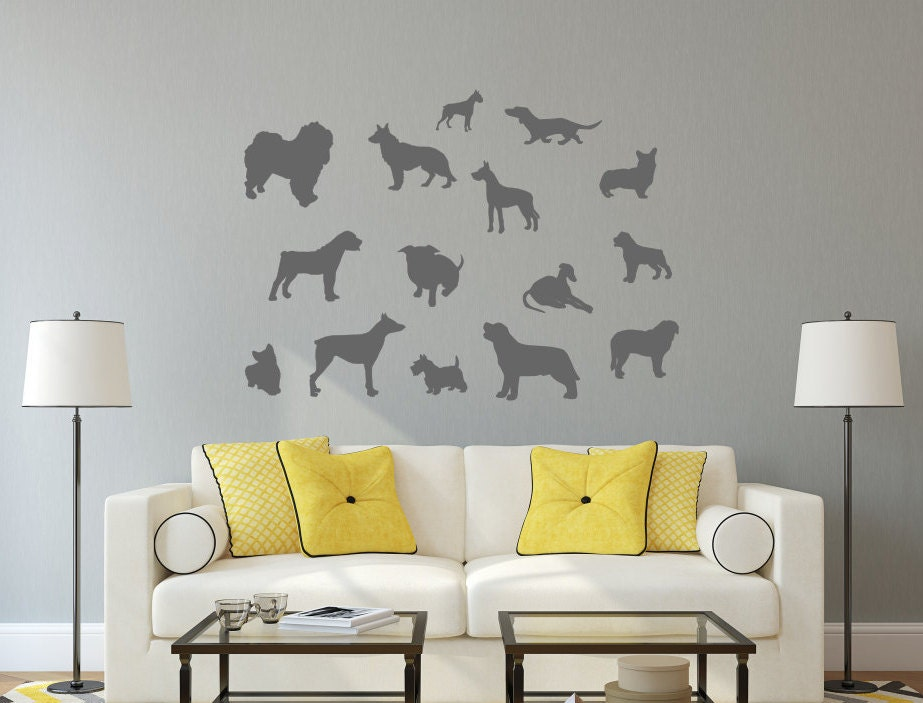 Dog Silhouette Decal, Dog Vinyl Decal, Dog Decal, Dog Decor, Dog  Silhouette, Veterinarian Decal, Dogs Wall Decals, Dogs Wall Art,