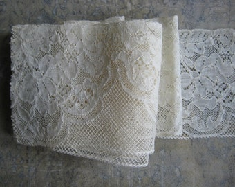 Vintage French lace trim, cream lace trim, off white, wide lace, vintage haberdashery
