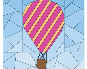 Hot Air Balloon Paper Piecing Pattern - Rise Above Add-on: Diagonal Stripe  - Quilt Pattern - #255 PDF