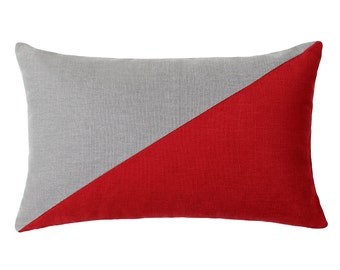 "12""X20"" Red & Gray Rectanuglar / Oblong / Lumbar / Cushion / Throw Pillow Cover"