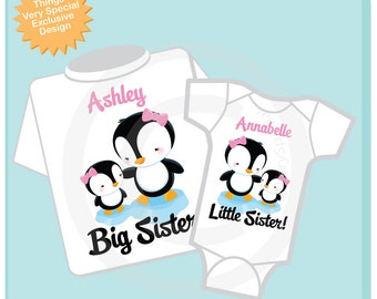 Big Sister Little Sister Shirt set of 2, Sibling Shirt, Personalized Tshirt with Cute Penguins (07202012g)