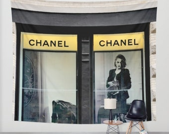 Fashion wall hanging tapestry Chanel inspired wall tapestry, Chanel decor, extra large wall decor dorm tapestry, oversized art black yellow