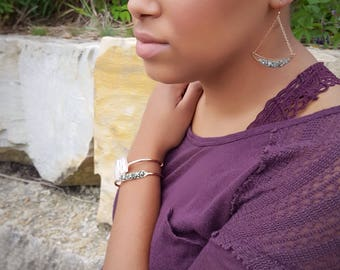 Rose Gold Moon Earrings Blush Earrings Drop Healing Stone Jewelry Rose Gold Dangle Earrings Statement Dangle Earrings Pyrite Earrings