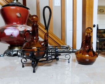 Vintage - Cruet - Amber Glass with Stand - Complete Set - Oil and Vinegar
