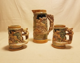 Vintage Set of Pitcher and 2 Tankards Made in Japan
