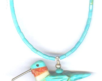 Sterling Silver Turquoise Hummingbird Necklace,New Mexico Hand Carved Hummingbird Necklace, Silver Hummingbird Jewelry, Hummingbird  Pendant