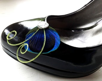 Petite Shoe Clip Collection - Natural Blue Peacock Feather with Lime Feather Shoe Clips