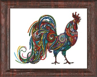 A Vibrant Rooster Cross-Stitch Pattern