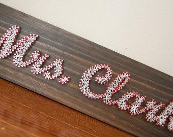 Customized string art, teacher string art, teacher appreciation, christmas gift, end of the school year gift, dark brown stain, teachers