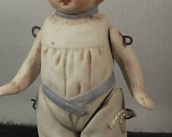 "Antique dollhouse miniature doll, bathingdoll, moulded chlothes, 8,5cm / 3.34"""