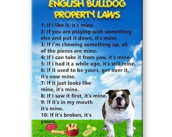 English Bulldog Property Laws Fridge Magnet No 1