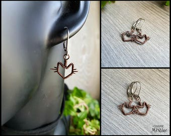 Cat earrings, kitty, antique copper cat breloque, stainless steel earrings, crazy cat lady !