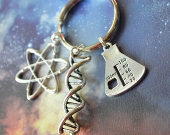 Biolojewelry - Atom DNA Double Helix Beaker Keychain