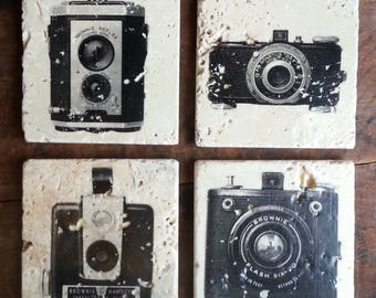 Vintage Camera Coasters, 4 Piece Set, Tumbled Marble (Or Mix n Match)