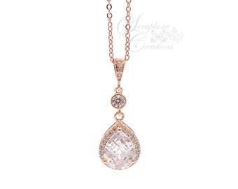 Rose Gold Bridal Necklace, Wedding Necklace, Wedding Jewelry, Cubic Zirconia, Teardrop Pendant, Bridal Jewelry Bridesmaid Gift Pendant W18RG
