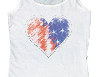 Ladies American Heart Distressed Heart Flag Graphic Loose Fit Tank Top
