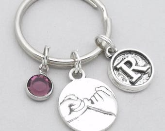 pinky swear keyring | pinky promise keychain | friendship keychain | personalised pinky swear / promise gift | vintage style initial