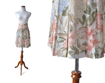 Vintage Floral Skirt / Flower Print Skirt / Pink Skirt / Cotton Skirt /  Women Bottoms Skirts / Vintage Clothing Skirt
